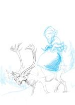 Initial Sketch-I spent a while working out the reindeer.  I was more confident in my ability to draw a little Santa.